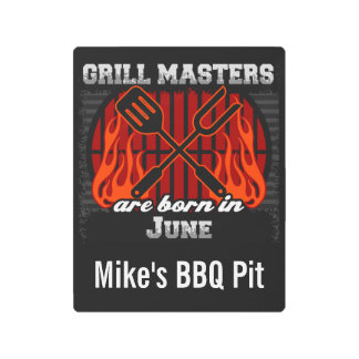Grill Masters Are Born In June Personalized Metal Print