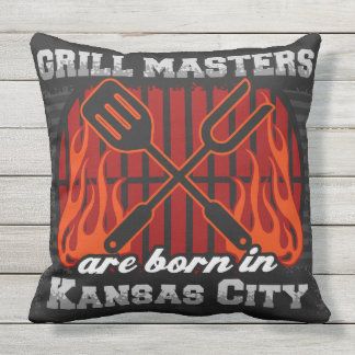 Grill Masters Are Born In Kansas City Outdoor Pillow