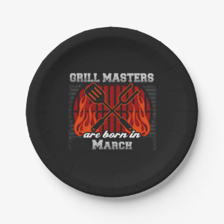 Grill Masters Are Born In March BBQ Birthday Paper Plate