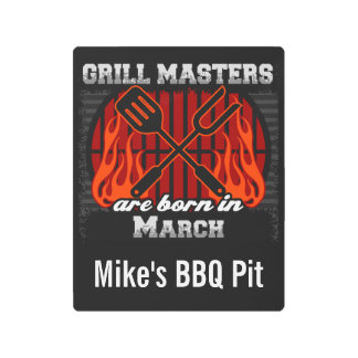 Grill Masters Are Born In March Personalized Metal Print