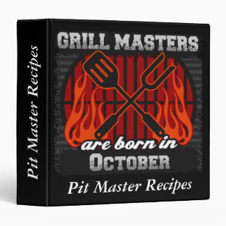 Grill Masters Are Born In October Personalized 3 Ring Binder