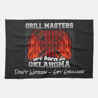 Grill Masters Are Born In Oklahoma Add A Slogan Hand Towel