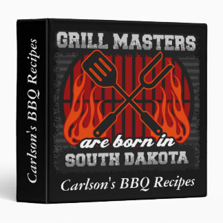 Grill Masters Are Born In S. Dakota Personalized 3 Ring Binder
