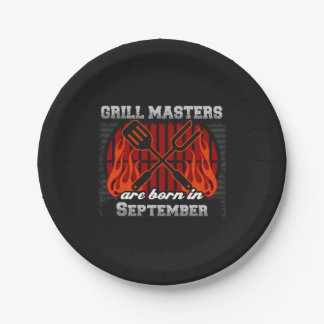 Grill Masters Are Born In September BBQ Birthday Paper Plate