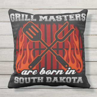 Grill Masters Are Born In South Dakota Outdoor Pillow