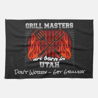 Grill Masters Are Born In Utah Add A Slogan Hand Towel