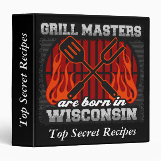 Grill Masters Are Born In Wisconsin Personalized 3 Ring Binder