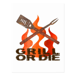Grill or Die Postcard