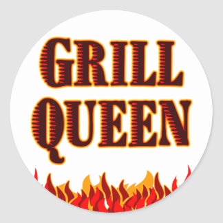 Grill Queen Funny BBQ Saying Classic Round Sticker