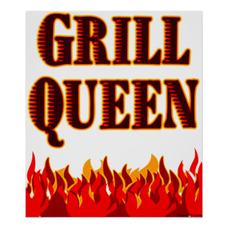 Grill Queen Red Flames BBQ Art Poster