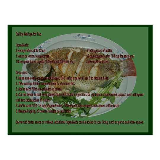 Grill Walleye of Two Recipe Card
