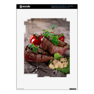 Grilled bbq steaks with fresh herbs and tomatoes iPad 3 skin