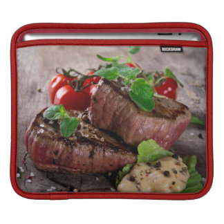 Grilled bbq steaks with fresh herbs and tomatoes iPad sleeves