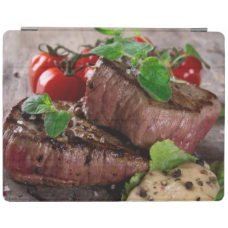 Grilled bbq steaks with fresh herbs and tomatoes iPad smart cover