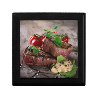 Grilled bbq steaks with fresh herbs and tomatoes jewelry box