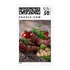 Grilled bbq steaks with fresh herbs and tomatoes postage
