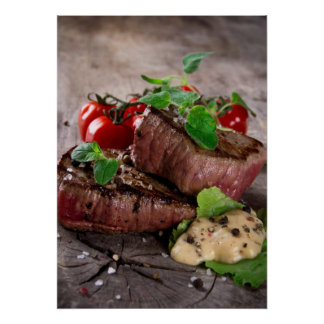 Grilled bbq steaks with fresh herbs and tomatoes poster