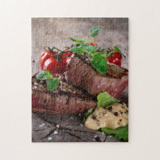 Grilled bbq steaks with fresh herbs and tomatoes puzzle