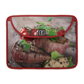Grilled bbq steaks with fresh herbs and tomatoes sleeve for MacBook pro