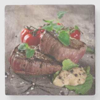 Grilled bbq steaks with fresh herbs and tomatoes stone coaster