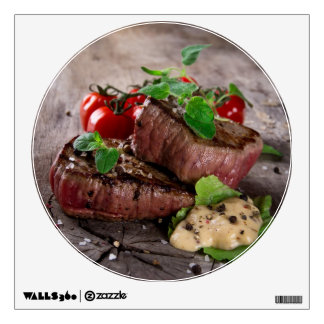 Grilled bbq steaks with fresh herbs and tomatoes wall sticker