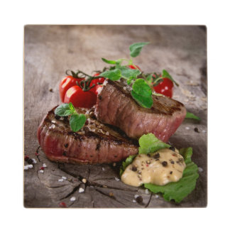 Grilled bbq steaks with fresh herbs and tomatoes wood coaster