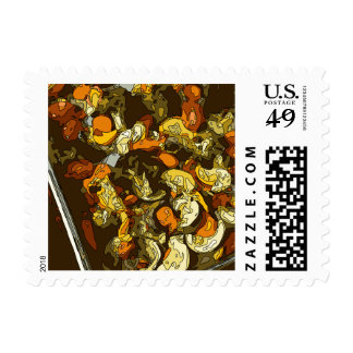Grilled Carrots Zucchini and Mushroom Dish Stamp