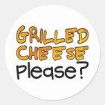 Grilled Cheese Please? Round Sticker