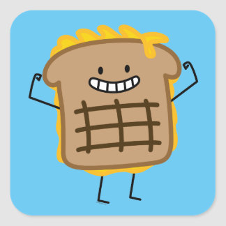 Grilled Cheese Sandwich Cheddar Toasted Bread Square Sticker