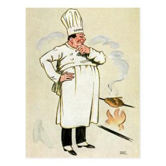 Grilled Chicken Chef Vintage Food Ad Art Postcard