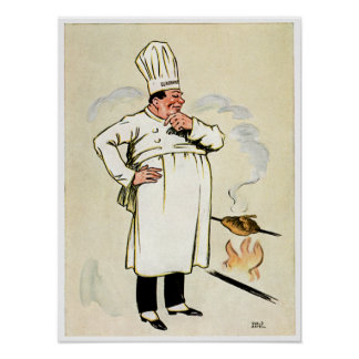 Grilled Chicken Chef Vintage Food Ad Art Poster