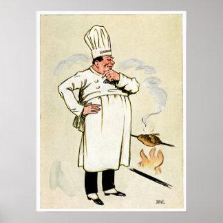 Grilled Chicken Chef Vintage Food Ad Art Print