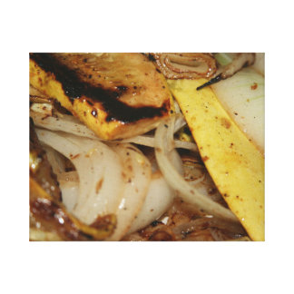 Grilled onions and squash food stretched canvas print