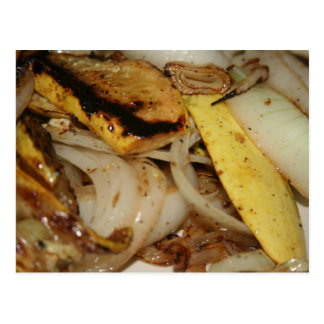 Grilled onions and squash food postcard
