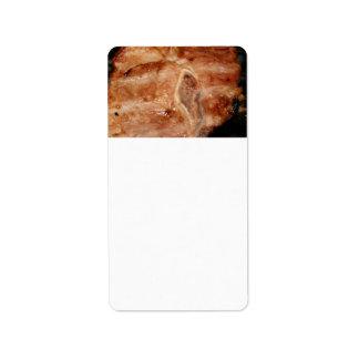 Grilled pork chop with bone food image custom address label