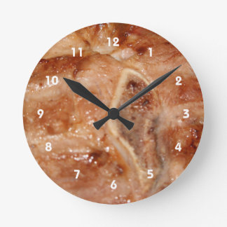 Grilled pork chop with bone food image round clock