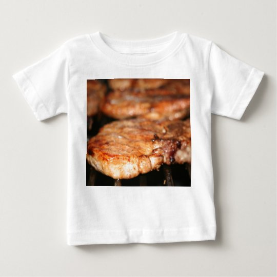Grilled pork chops on the bbq close up photo baby T-Shirt