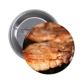 Grilled pork chops on the bbq close up photo pinback buttons