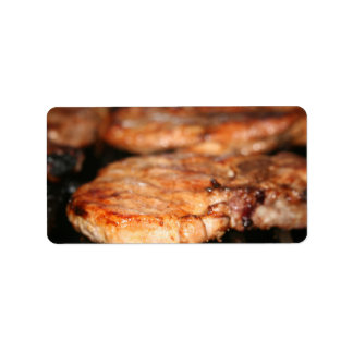 Grilled pork chops on the bbq close up photo custom address labels