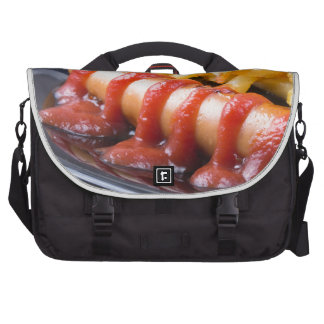 Grilled sausages and fried potato computer bag