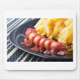 Grilled sausages and fried potato mouse pad