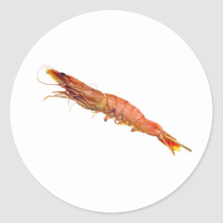 Grilled tiger prawn on a skewer classic round sticker