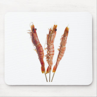 Grilled tiger prawn on a skewer mouse pad