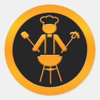 Griller de oro pegatina redonda