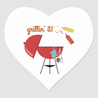 Grillin él calcomanía corazón personalizadas