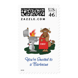 Grilling Cow Cartoon Invited to Barbecue Postage Stamp