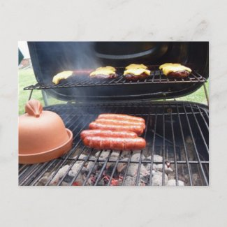 Grilling Hamburgers and Hot Dogs Card postcard