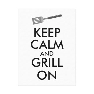 Grilling Keep Calm and Grill On Barbecue Spatula Canvas Print