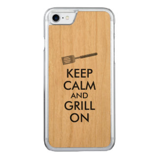 Grilling Keep Calm and Grill On Barbecue Spatula Carved iPhone 8/7 Case