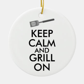 Grilling Keep Calm and Grill On Barbecue Spatula Ceramic Ornament